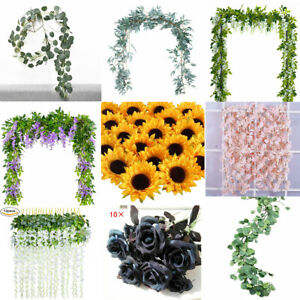 Artificial-Plants-Flower-Greenery-Wreath-Garland-Faux-Silk-Vines-Wedding-Decor