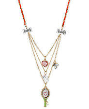 Betsey Johnson Walk In The Park Tennis Racquet Cat Charm Crystal 3-Row Necklace