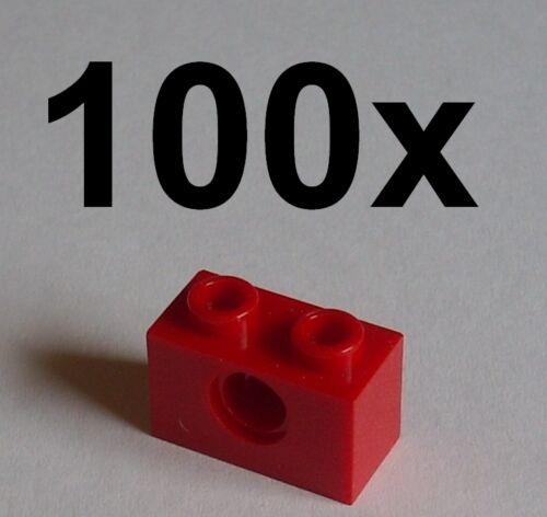3700 LEGO 100 tecnica rossa pietre 1x2 con foro nuovo pietre in rosso Red Bricks