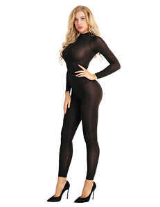 2e92b4802a Image is loading Womens-Mesh-Sheer-Bodystocking-Zipper-Turtleneck -Teddy-Catsuit-