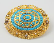 Heavy Antique Victorian 18ct Yellow Gold, Turquoise & Pearl Brooch