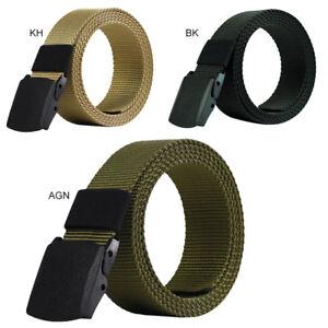 mejores zapatillas de deporte bcec5 8280e Detalles de Casual Hombre de Cinturón Nylon Respirable Militar Táctico  Hebilla de Plástico