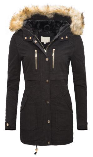 Winter Parka Damen Jacke Mantel Damenjacke Kapuze mit Kunstpelz warm D-105 NEU