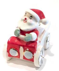 Vintage-Ceramic-Holt-Howard-1959-Santa-Driving-Car-Candle-Holder