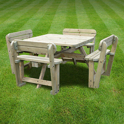 Terrific Braunston Wooden Picnic Table With Back Support Rounded Edges Pub Style Bench Ebay Evergreenethics Interior Chair Design Evergreenethicsorg