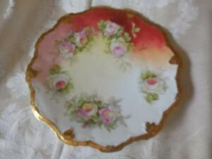Vintage Limoges Coronet Plate hand Painted signed Luc scaloped edge ...