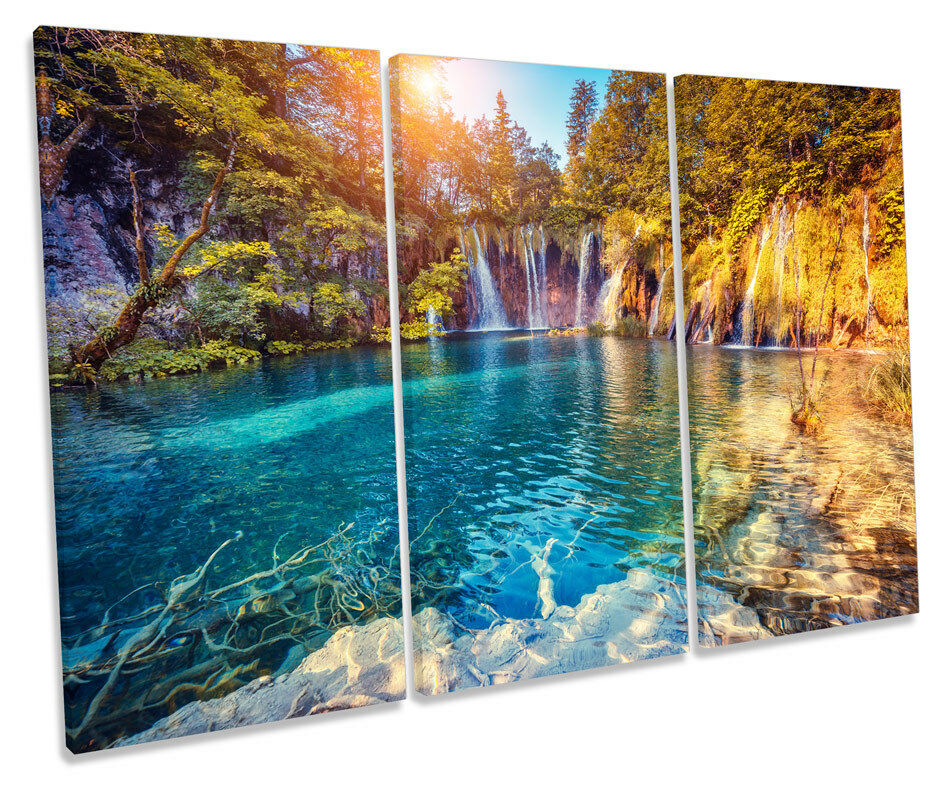 Sunset Waterfall Lake Bild TREBLE CANVAS Wand Kunst Drucken