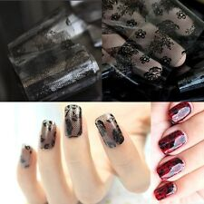 hot fashion black lace flower nail art transfer foil sticker toenails tips decor