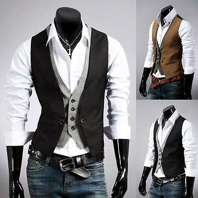 Korea Morden Top Designed Casual Slim Fit Skinny Dress Vest Waistcoat Black S M