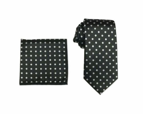 Men/'s Woven Polka Dot Tie /& Hanky Handkerchief Pocket Square Set