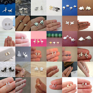 Cute-Animal-Silver-Plated-Earrings-Stud-Studs-Mini-Jewelry-Women-Ear-Fashion