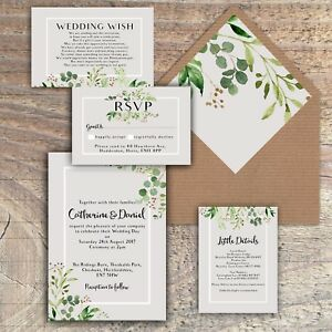 Personalised luxury rustic wedding invitations greengreyleaves image is loading personalised luxury rustic wedding invitations green grey leaves filmwisefo