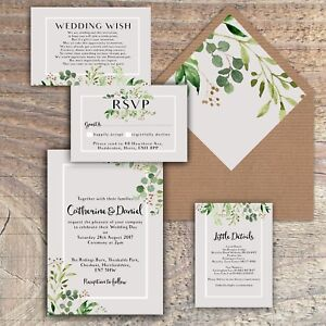 Personalised Luxury Rustic Wedding Invitations GREEN/GREY/LEAVES packs of 10 | Home