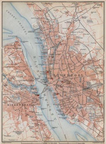 MERSEYSIDE LIVERPOOL /& BIRKENHEAD town city plan Bootle Everton 1910 old map