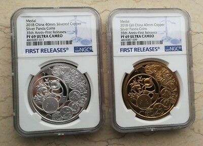 35th Issue of Silver Panda Coin NGC PF69 China 2018 Gilt Copper Medal