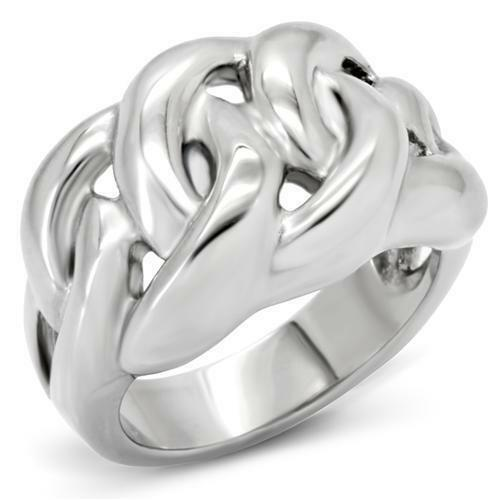 Ladies silver ring stainless steel highly polished no tarnish stamped chunky 147