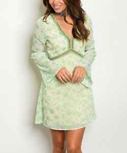 Boho-Peasant-Dress-Size-10-Green-Floral-With-Bell-Sleeves