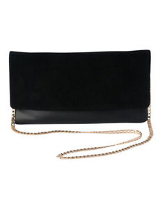 NEW-Olga-Berg-OBL7008-Ash-Chain-Clutch-Black