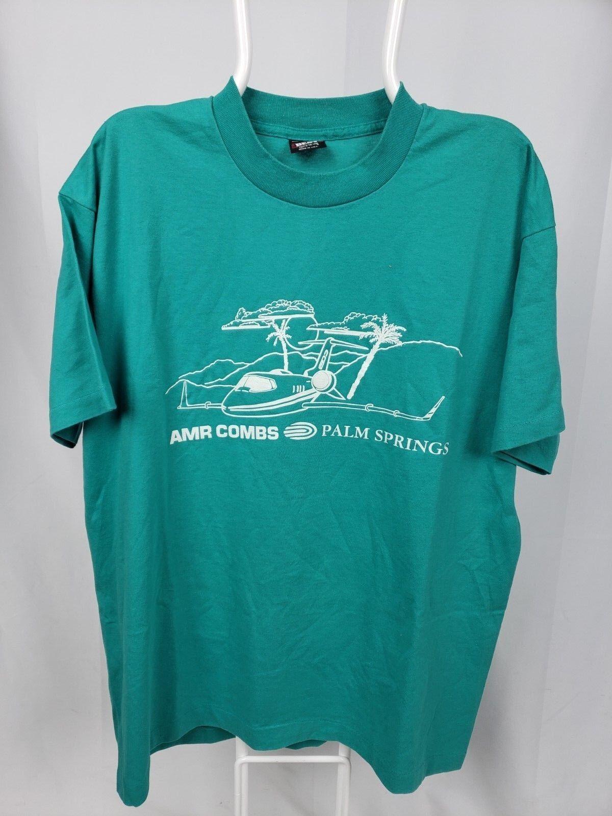 BEST FOTL 50/50 XL Blau T Shirt Vtg 80s AMR Combs Palm Springs Learjet Airport