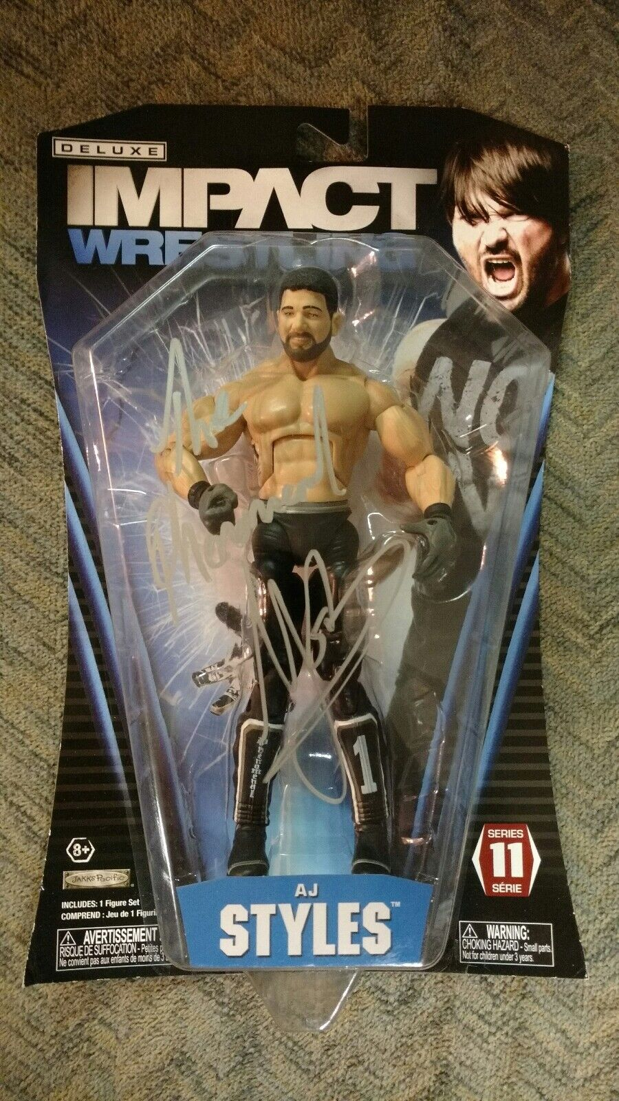 TNA IMPACT WRESTLING AJ STYLES AUTOGRAPHED SIGNED FIGURE WWE WWF ROH NJPW RARE