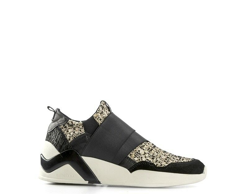 shoes SERAFINI Woman black gold Fabric,Natural leather,Suede DDOV02