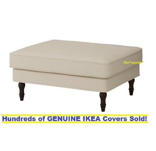 IKEA STOCKSUND Footstool / Ottoman Cover Slipcover Nolhaga Light Beige |  EBay