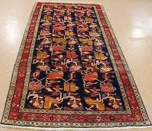 Persian-Rug-Meshkin-Tribal-Hand-Knotted-Wool-NAVY-RED-Oriental-Runner-4-5-x-10