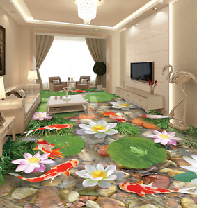 3D White Lotus Fish 886 Floor Wall Paper Murals Wall Print AJ WALLPAPER UK Lemon