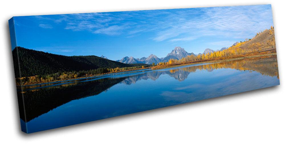 Lake Mountains Landscapes SINGLE TELA TELA TELA parete arte foto stampa cca953