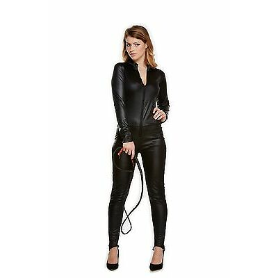 Womens Black CATSUIT Adult Ladies Fancy Dress Trick or Treat Halloween Costume