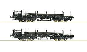 Roco-H0-76196-Rungenwagen-Set-mit-Schienenbeladung-der-DR-NEU