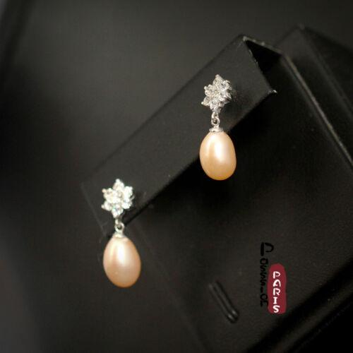 Boucles d/'Oreilles Nacre Perle Culture Goutte Rose Argent Massif 925 8mm-9mm F
