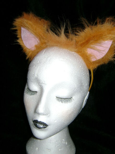 Ginger Cat Ears With Pink Inners Fancy Dress Luxury Faux Fur Animal Costume