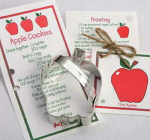 Ann Clark APPLE & SCHOOL BUS  Tin Plated Steel Cookie Cutter DUO  USA