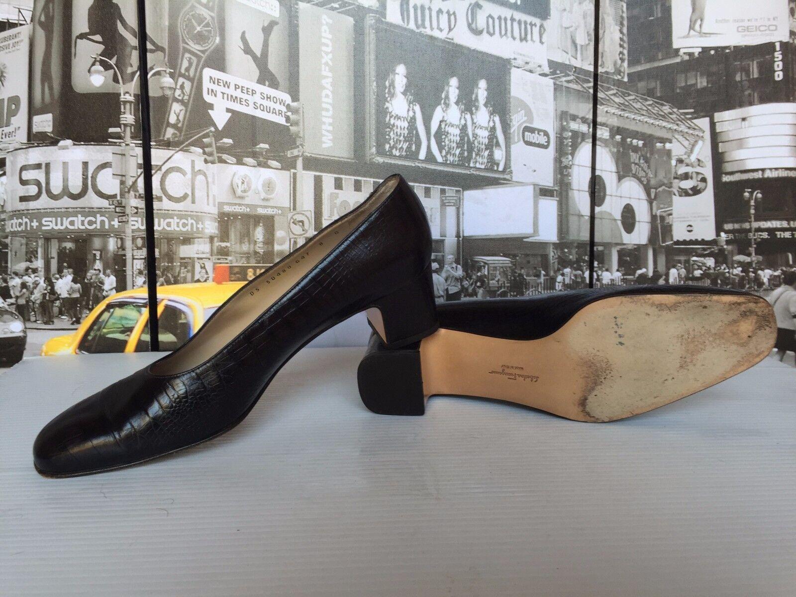 Salvatore Ferragamo  Crocodile Leder  schwarz pumps Block Heel EUR Größe US 8 EUR Heel 38 5114d5