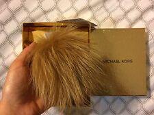 $5 OFF! 100% AUTHENTIC Michael Kors MK Natural Fox Fur Pom Bag Charm Key FOB NEW