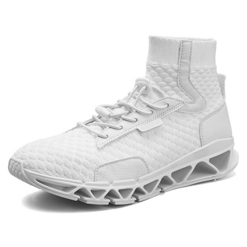 Mens White High Top Running Stretchy Sneakers Trainer Athletic Sport shoes Sz