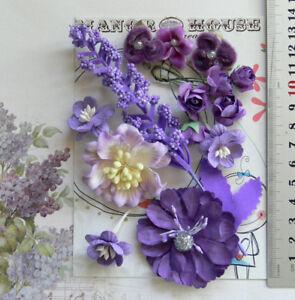 PAPER-amp-VELVET-7-Mixed-Styles-PURPLE-MAUVE-amp-IVORY-5Tones-14-Flowers-20-50mm-VD3