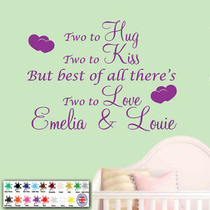 Personalised Wall Sticker Wall Art Quote Two To Love Hug Kiss