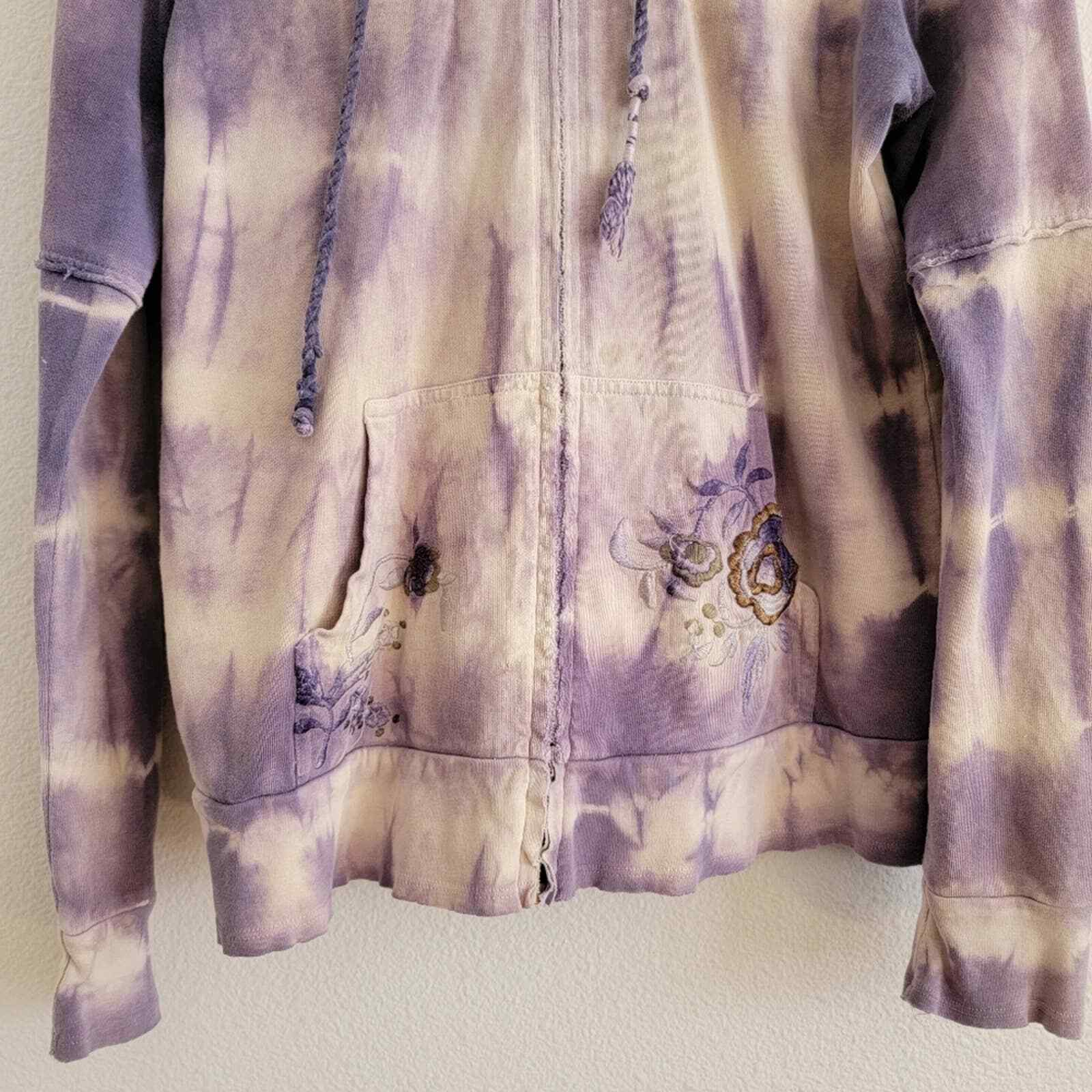 Penelope Violet Tie-Dye Embroidered Zip Up Sweater - image 3