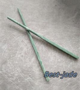 Gemstone Stone Sticks 2 Pairs of Natural Nephrite Jade Chopsticks