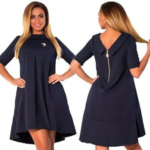 Womens Short Sleeve Cocktail Oversized Casual Evening Party Dress ...