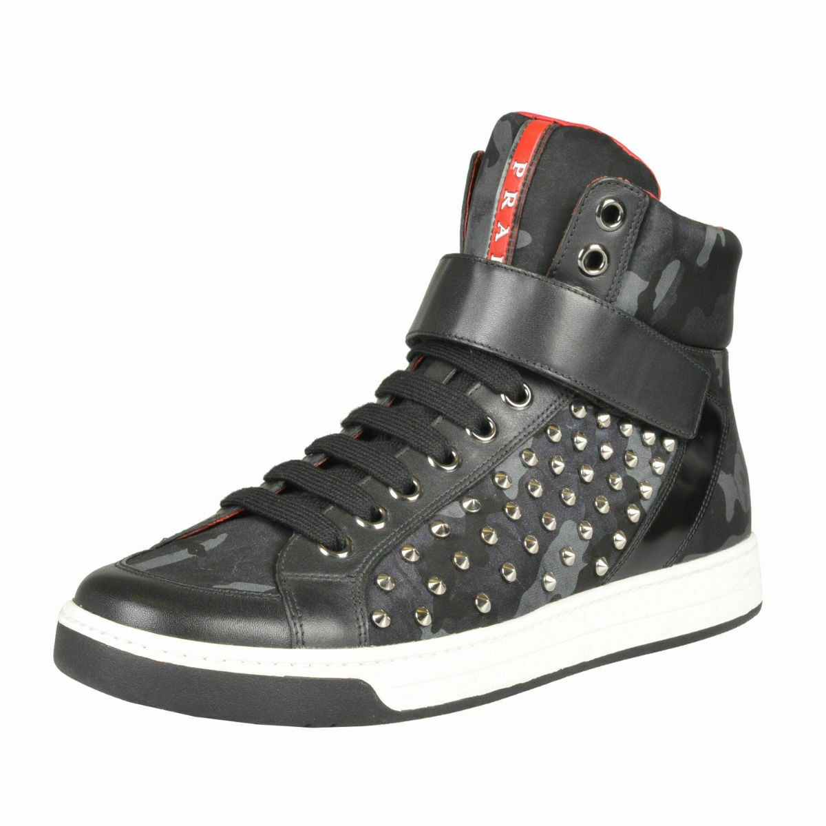 Prada Leather Hi Top Studs Decorated Fashion Sneakers shoes Sz 7 7.5 8 8.5 9 9.5