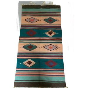 Vintage-Hand-Woven-Mexican-Long-Wool-Rug-Runner-Wall-Hanging-Tapestry-58X29
