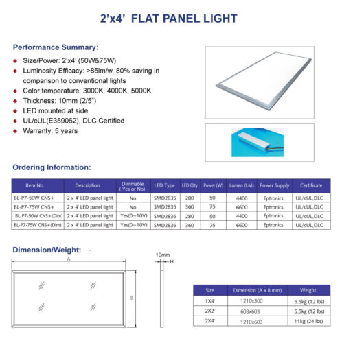 4000K 2 Pack 2 x 4 LED FLAT PANEL 50W DIMMABLE
