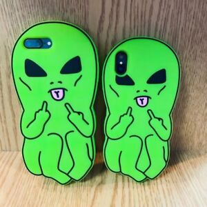 Middle-Finger-Alien-Cartoon-Telephone-Etui-Housse-Cool-silicone-souple-pour-Apple-iPhone