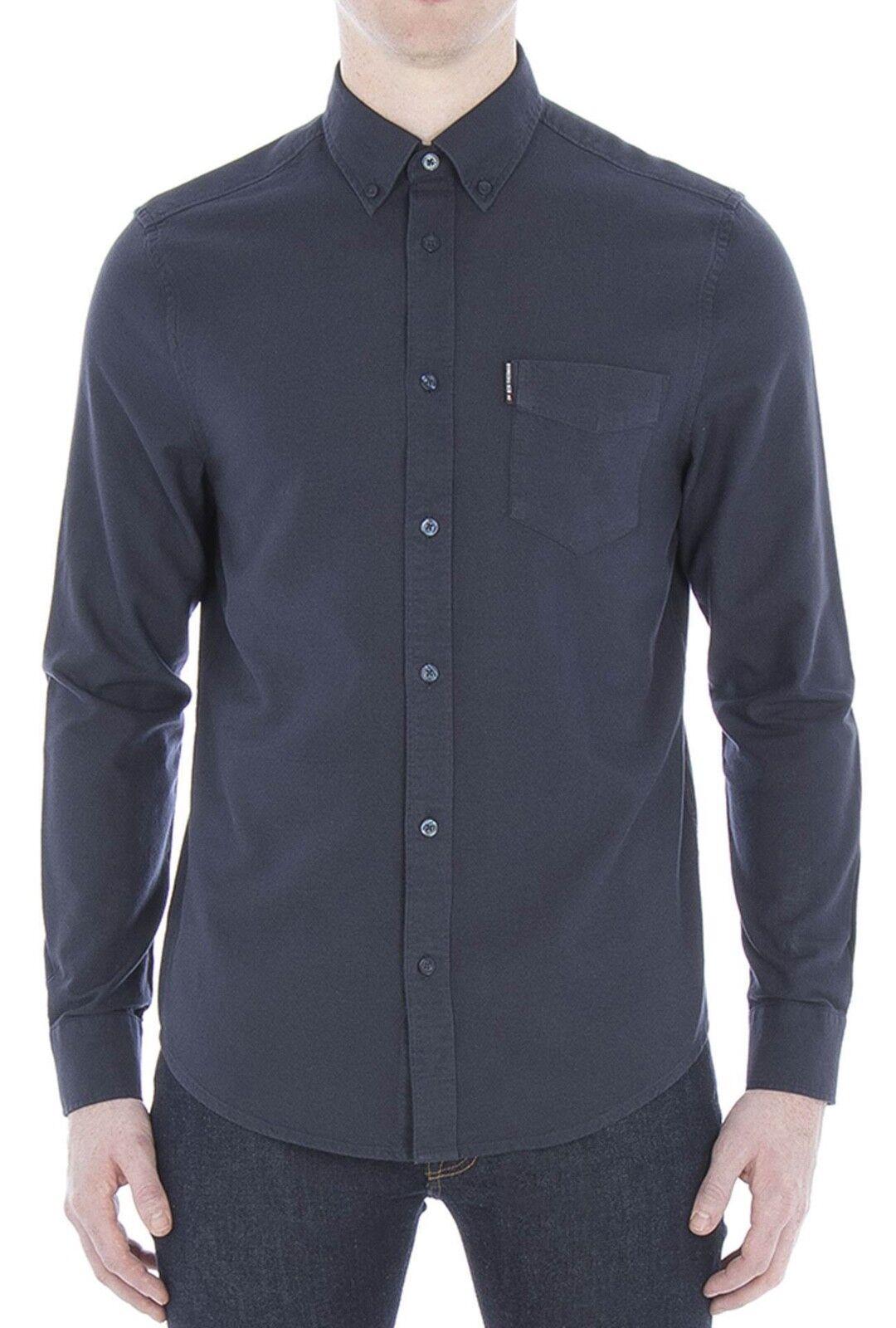 Ben Sherman Da Uomo Camicia Oxford Cotone Regolare Manica Lunga Button Down Blu Navy Blazer