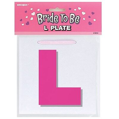 Hen Night L Plate Party item Accessory Necklace Pink and White with Ribbon