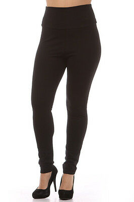 Womens PLUS Size High Waist Polyester Leggings Pants Black  XL 2X 3X
