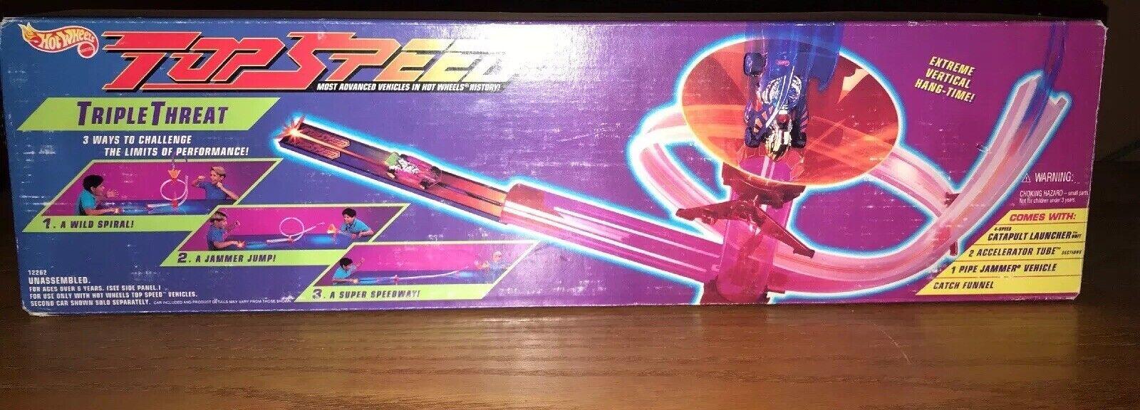In Original Box Vintage Mattel HOT WHEELS Top Speed Triple Threat Set. Complete